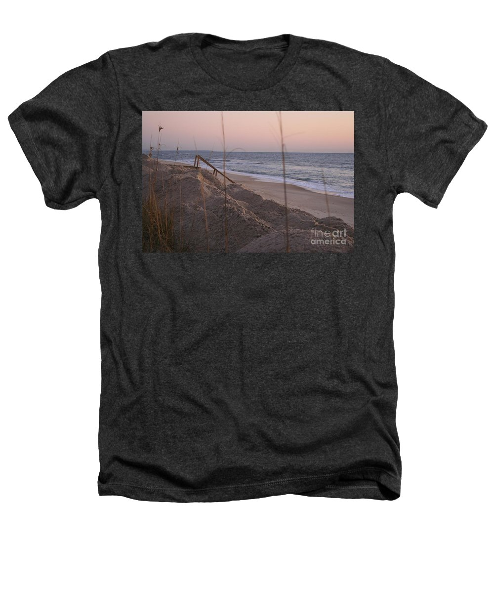 Pink Heathers T-Shirt featuring the photograph Pink Sunrise On The Beach by Nadine Rippelmeyer