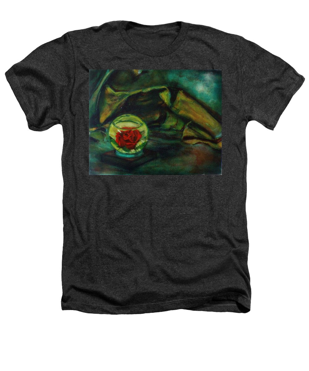 Still Life Heathers T-Shirt featuring the painting Preserved Rose . . Draped Canvas by Sean Connolly