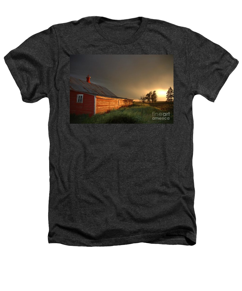 Barn Heathers T-Shirt featuring the photograph Red Barn At Sundown by Jerry McElroy