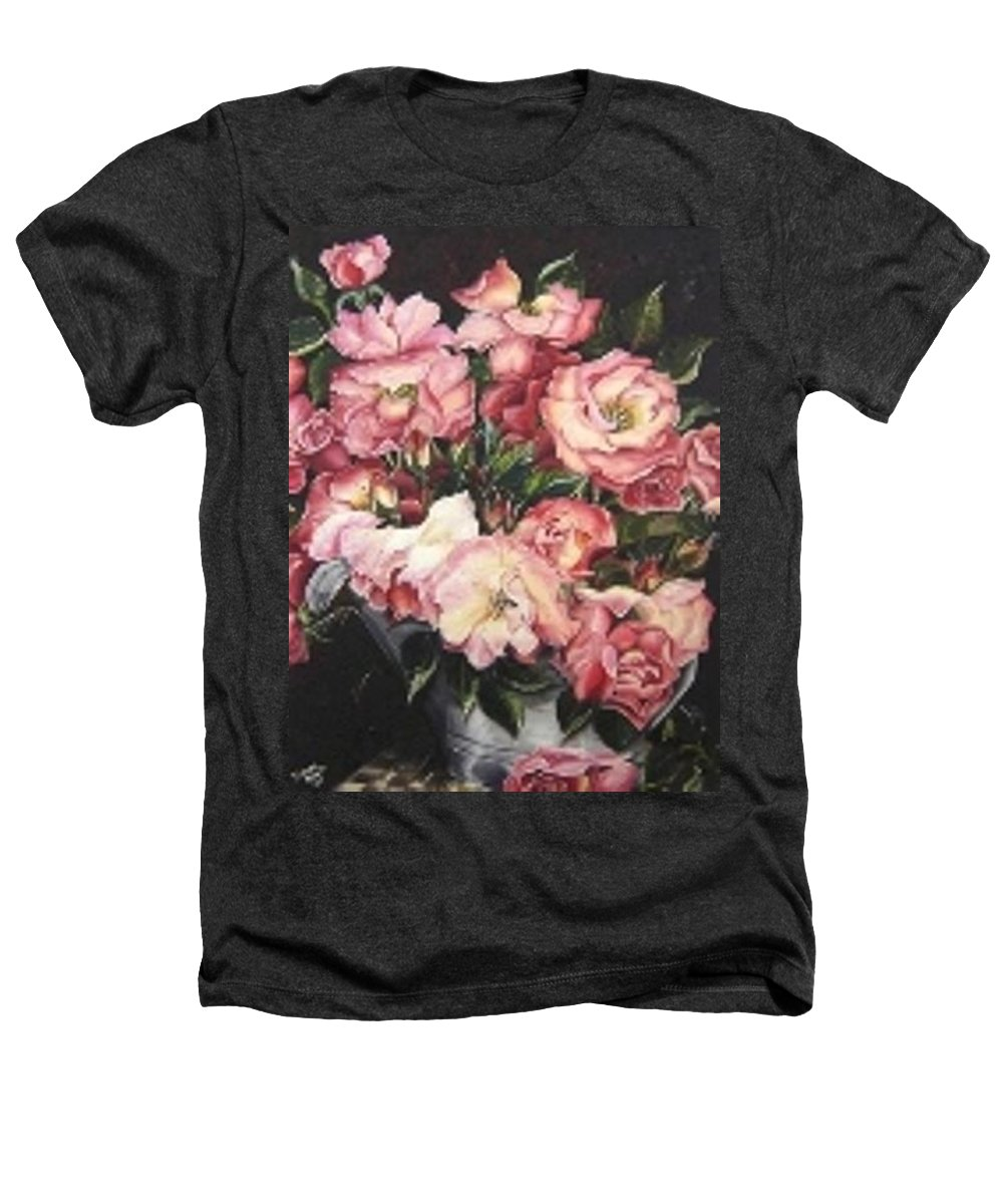 Pink Roses Floral Flowers Heathers T-Shirt featuring the painting Roses In A Watercan by Karin Dawn Kelshall- Best