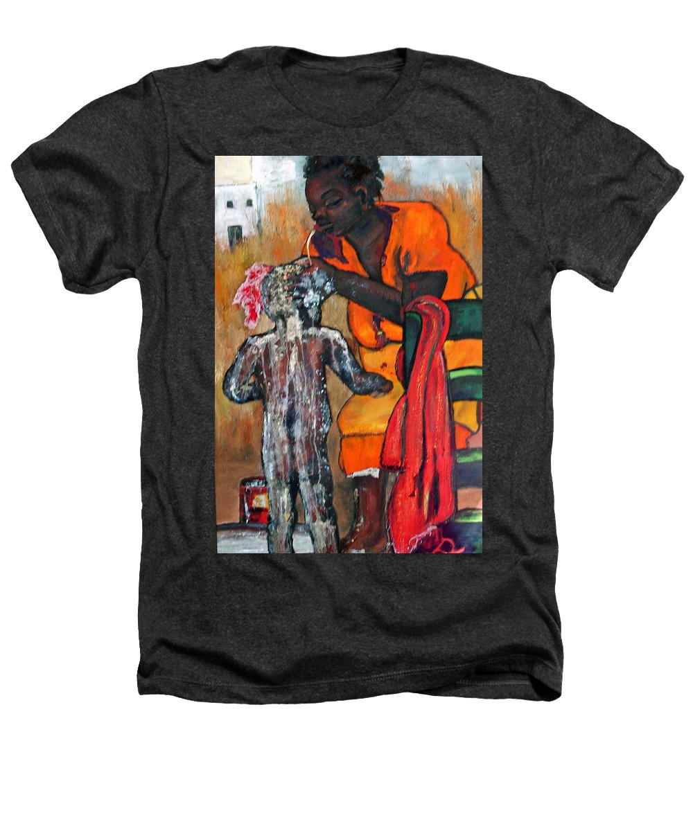 Mom Bathing Boy Heathers T-Shirt featuring the painting Saturday Night Bath by Peggy Blood