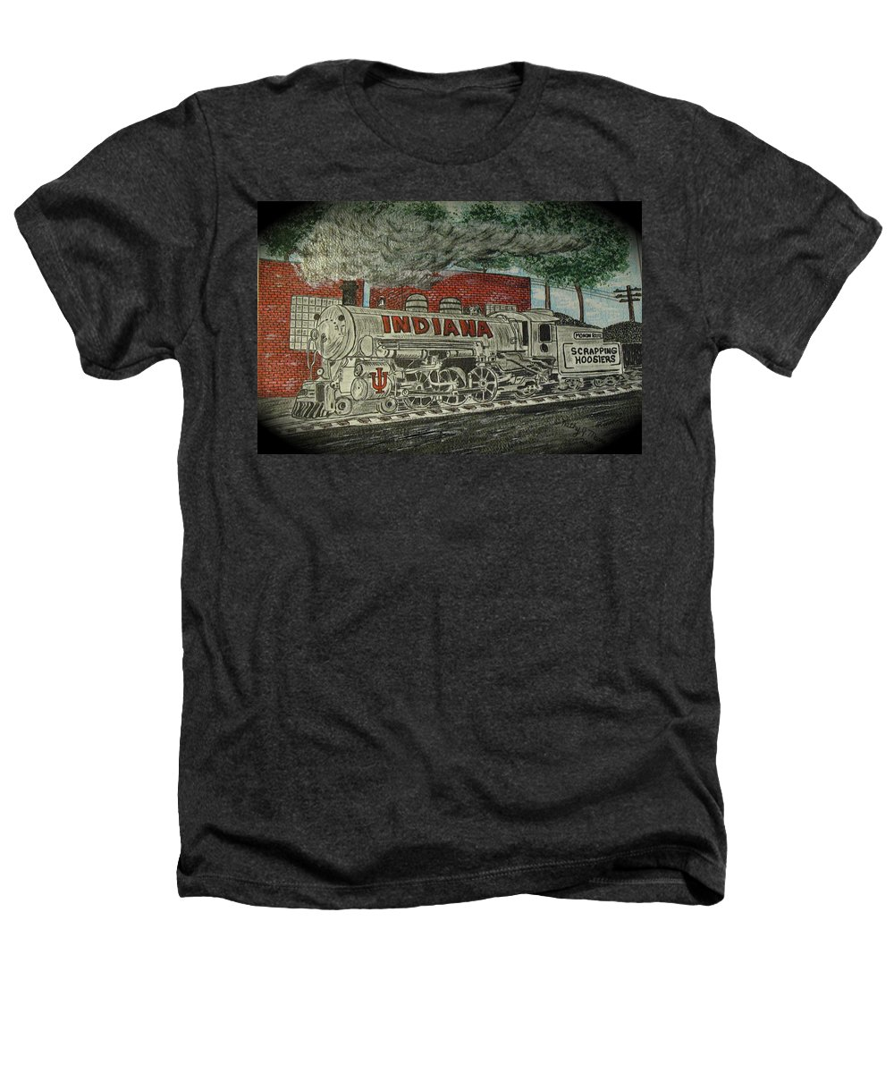 Scrapping Hoosiers Heathers T-Shirt featuring the painting Scrapping Hoosiers Indiana Monon Train by Kathy Marrs Chandler