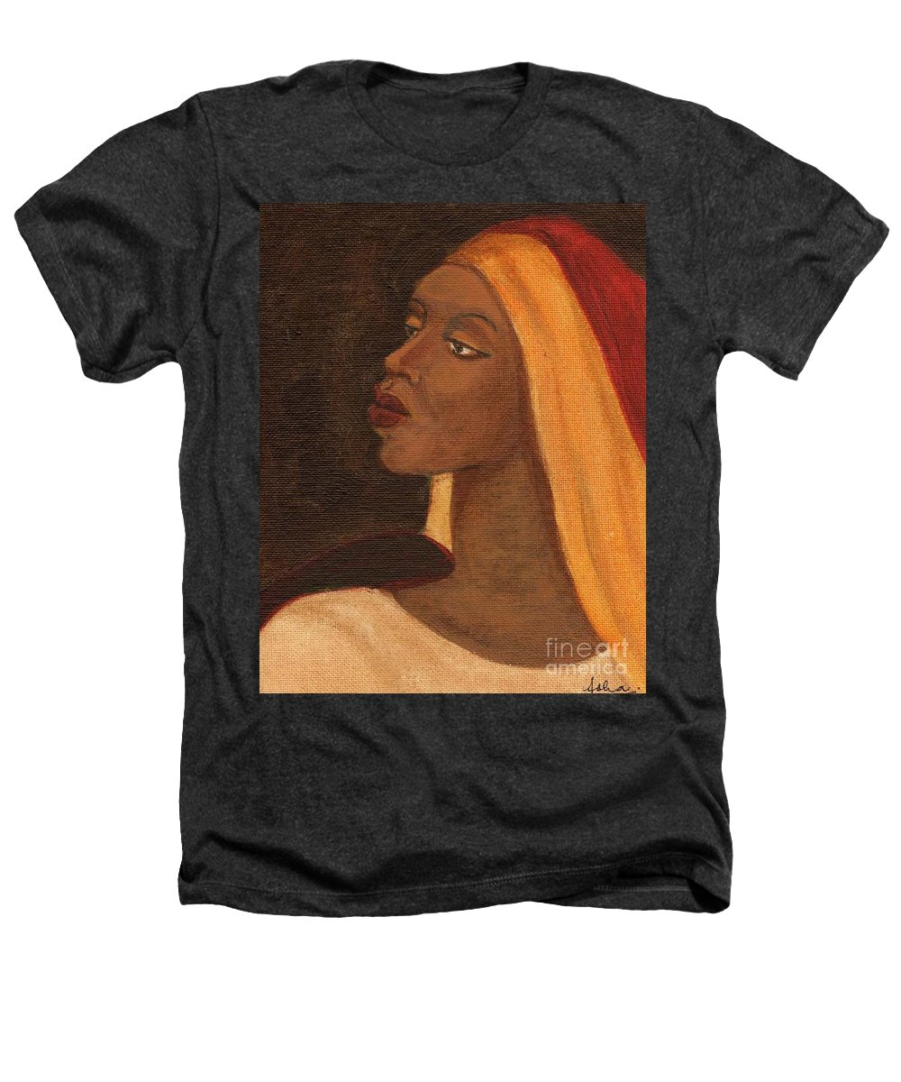 An African Woman Heathers T-Shirt featuring the painting Semi-abstract- Woman by Asha Sudhaker Shenoy