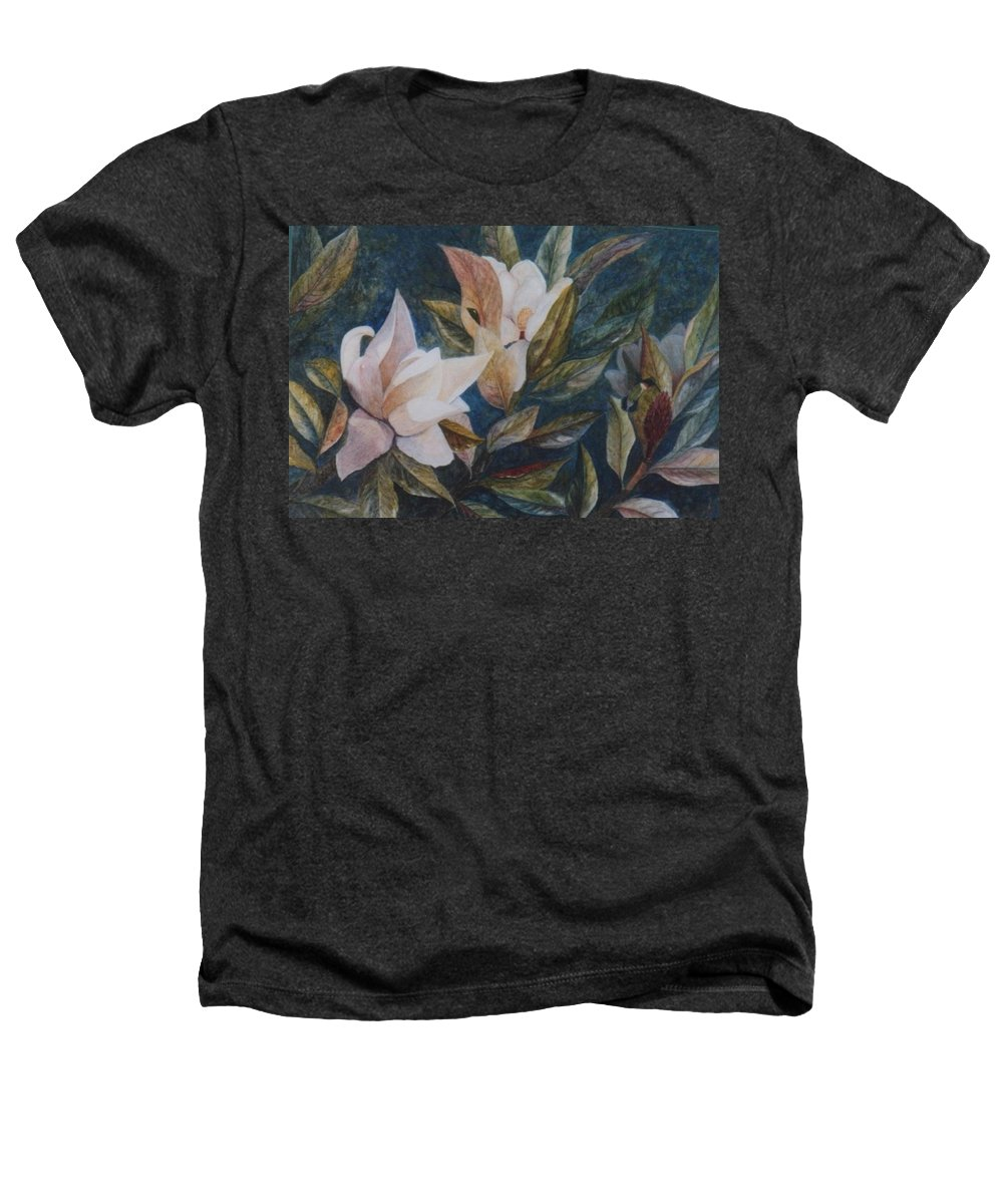 Magnolias; Humming Bird Heathers T-Shirt featuring the painting Serenity by Ben Kiger