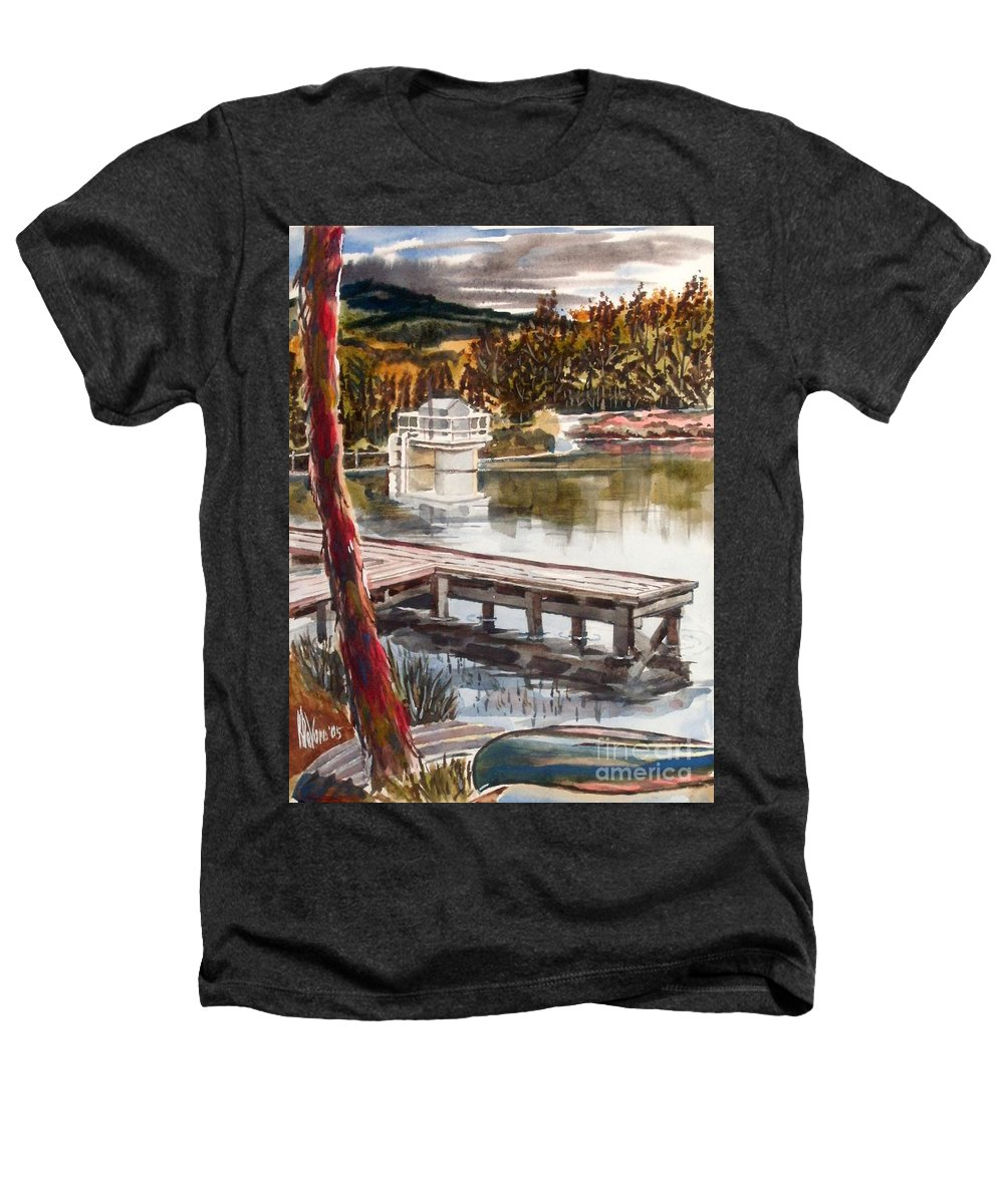 Shepherd Mountain Lake In Twilight Heathers T-Shirt featuring the painting Shepherd Mountain Lake In Twilight by Kip DeVore