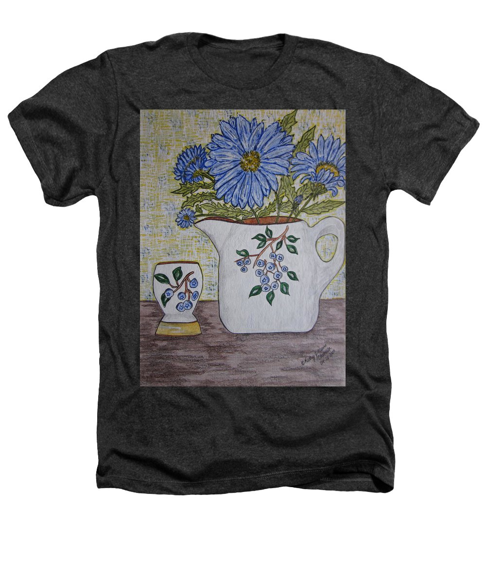 Stangl Blueberry Pottery Heathers T-Shirt featuring the painting Stangl Blueberry Pottery by Kathy Marrs Chandler