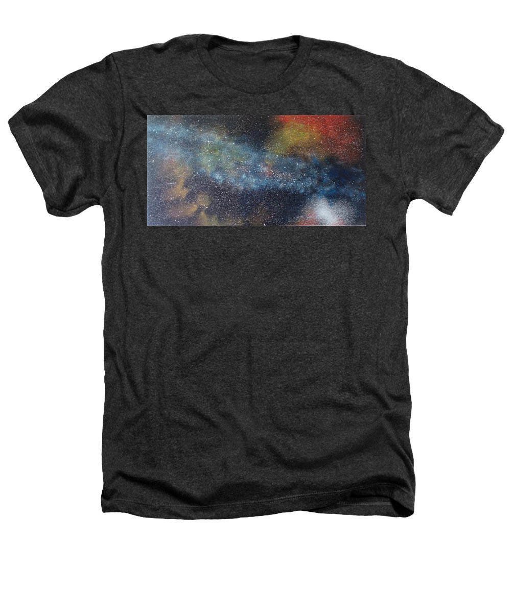 Space;stars;starry;nebula;spiral;galaxy;star Cluster;celestial;cosmos;universe;orgasm Heathers T-Shirt featuring the painting Stargasm by Sean Connolly
