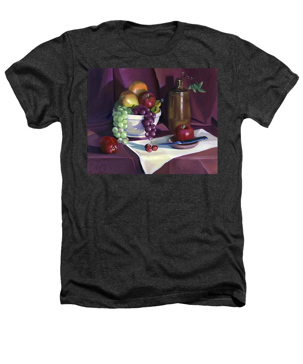 Fine Art Heathers T-Shirt featuring the painting Still Life With Apples by Nancy Griswold