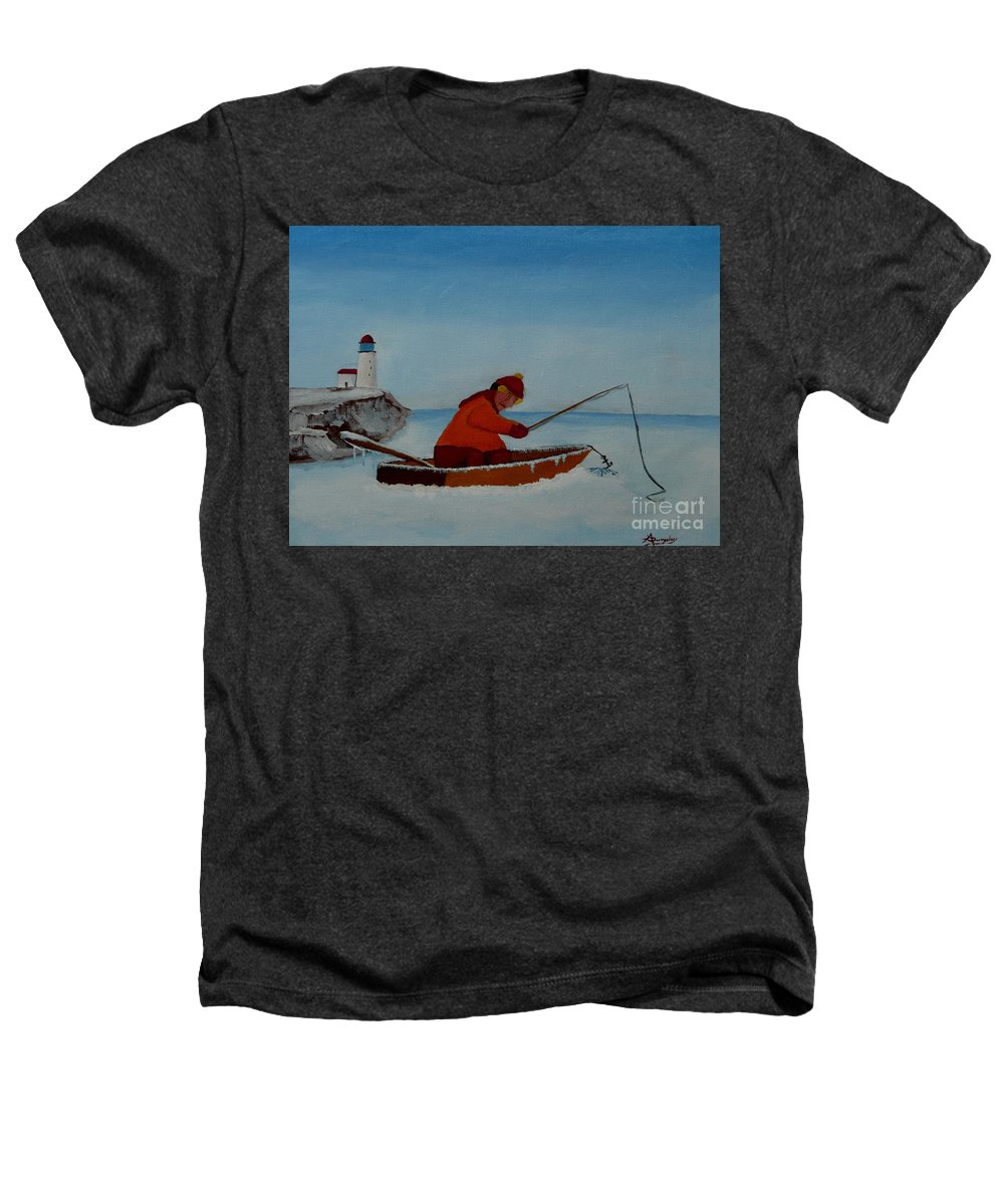 Stupid Heathers T-Shirt featuring the painting The Ice Fisherman by Anthony Dunphy