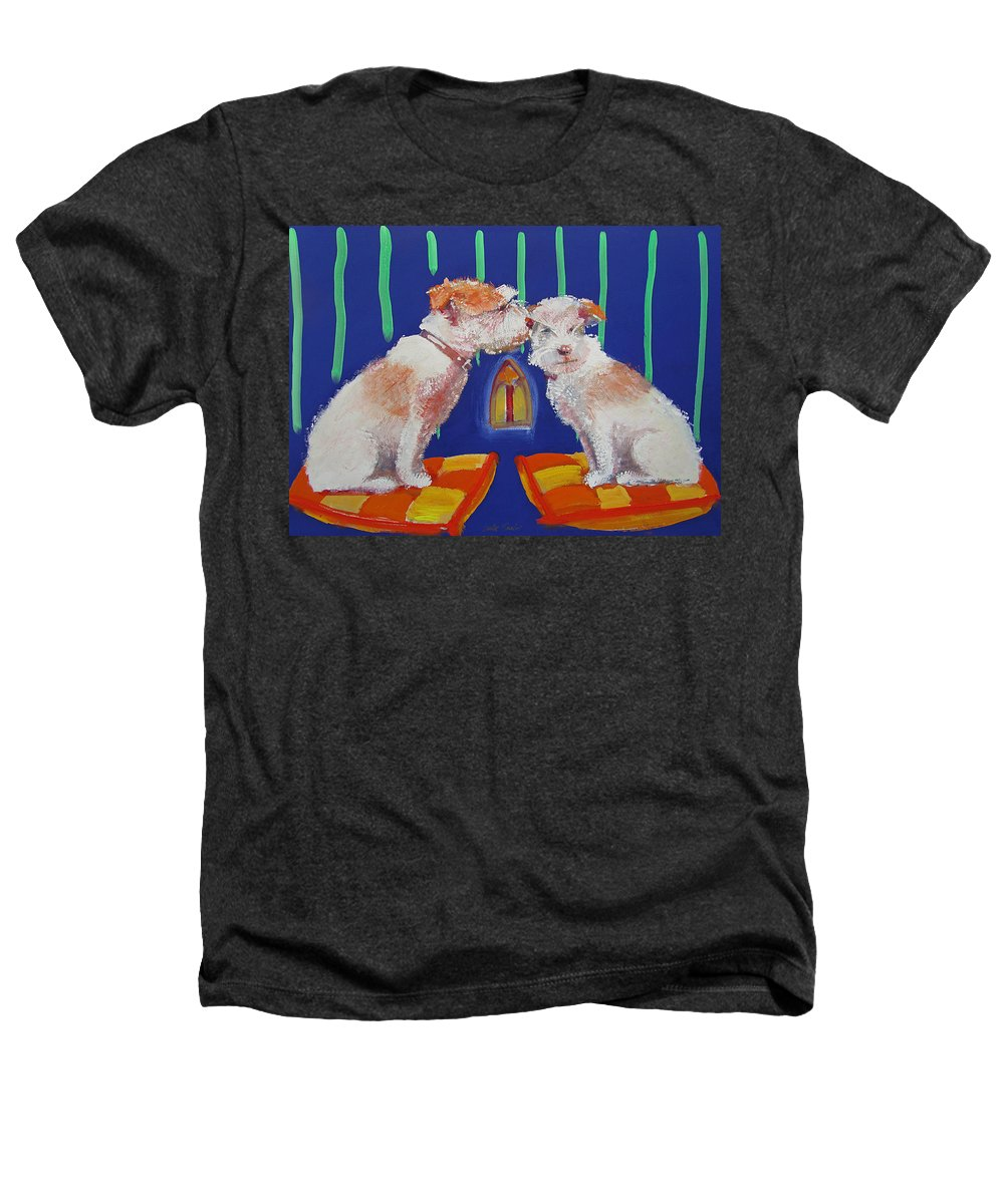 Puppy Heathers T-Shirt featuring the painting Two Border Terriers Together by Charles Stuart