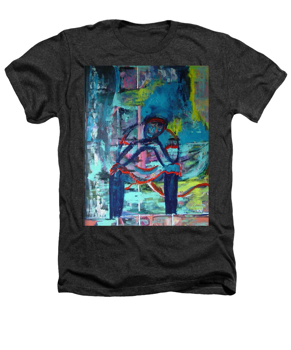 Woman On Bench Heathers T-Shirt featuring the painting Waiting by Peggy Blood