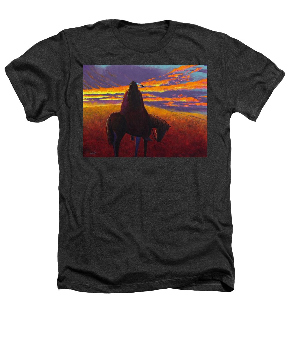 Native American Indian Heathers T-Shirt featuring the painting Watching The Magic by Joe Triano