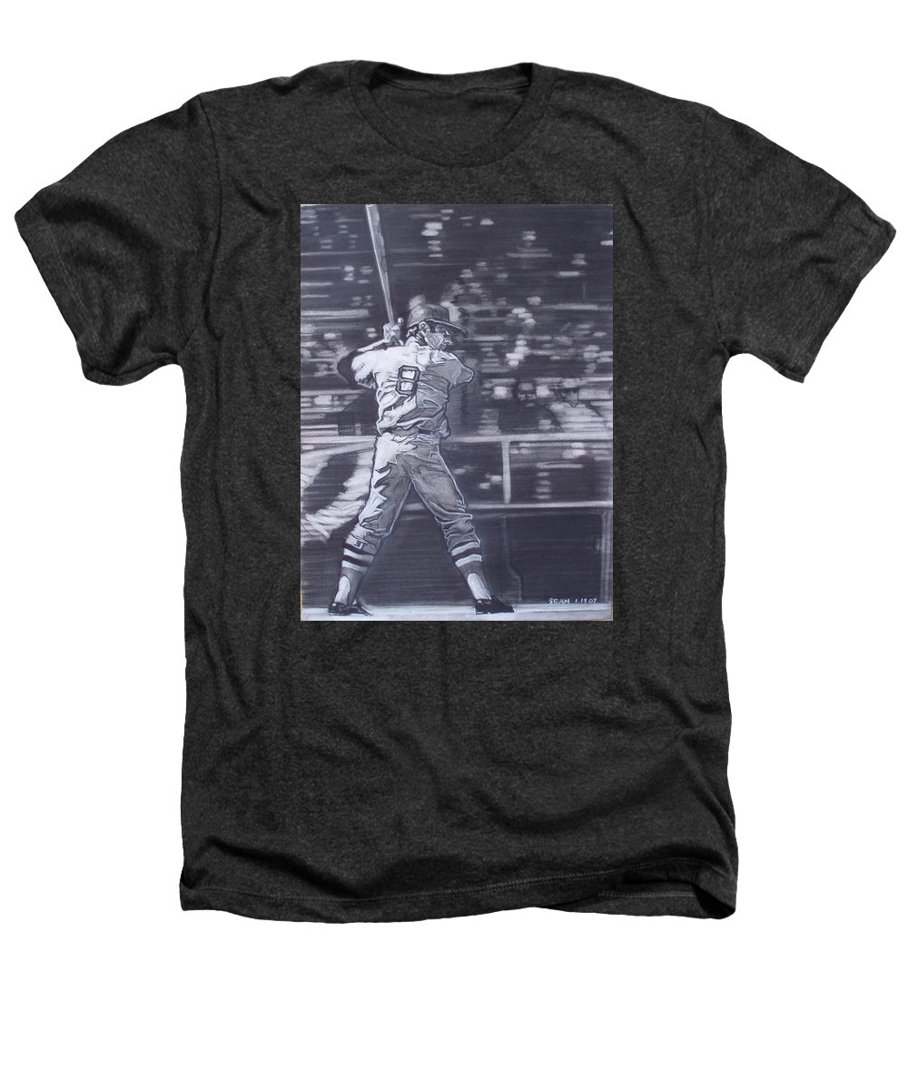 Charcoal Heathers T-Shirt featuring the drawing Yaz - Carl Yastrzemski by Sean Connolly
