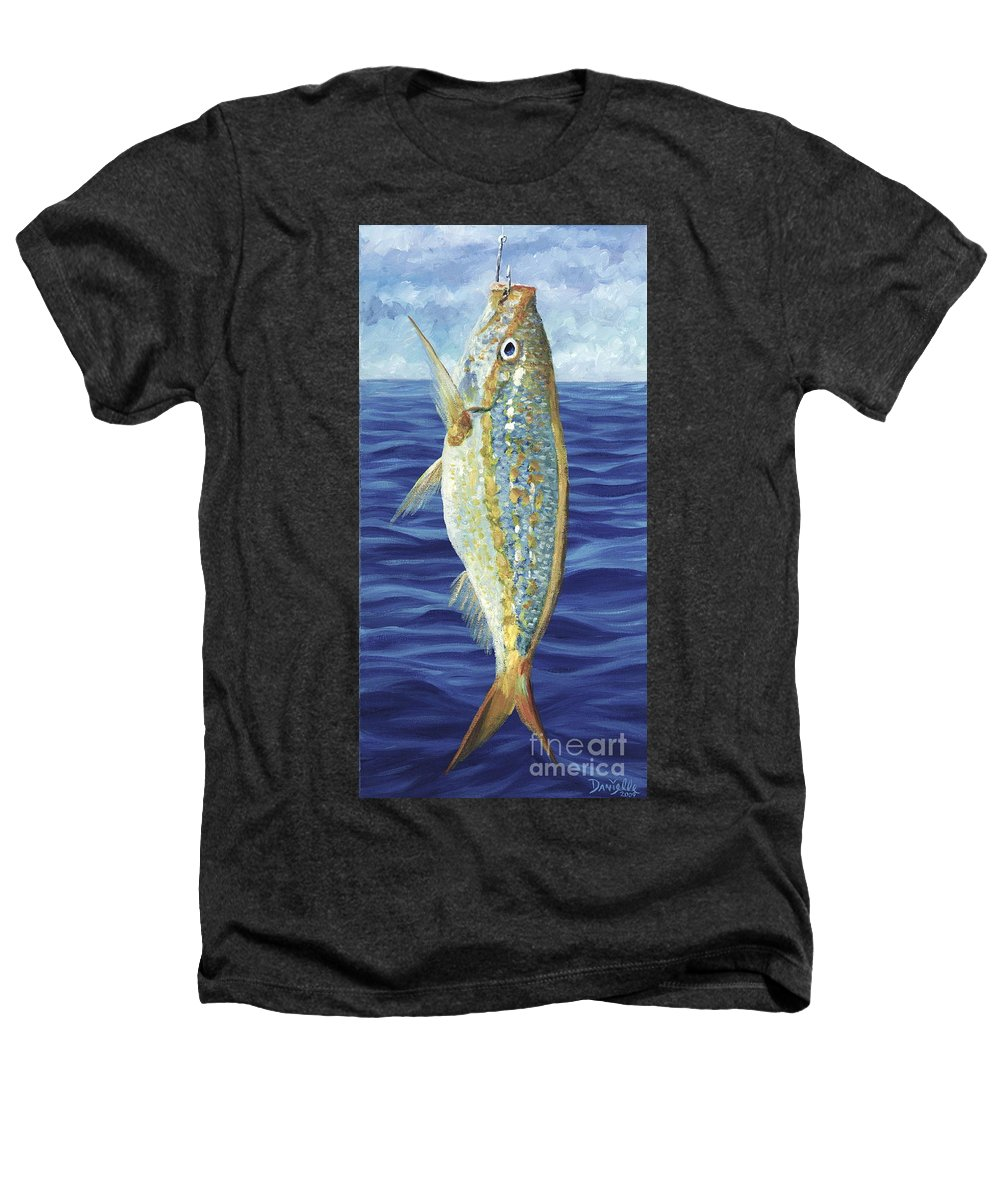 Snapper Heathers T-Shirt featuring the painting Yellowtail On The Menu by Danielle Perry