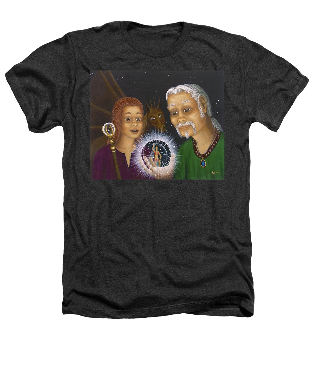 Fantasy Heathers T-Shirt featuring the painting Crystal Ball by Roz Eve