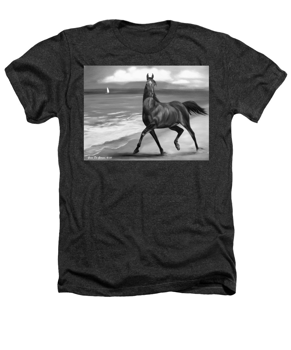 Horses Heathers T-Shirt featuring the painting Horses In Paradise Dance by Gina De Gorna