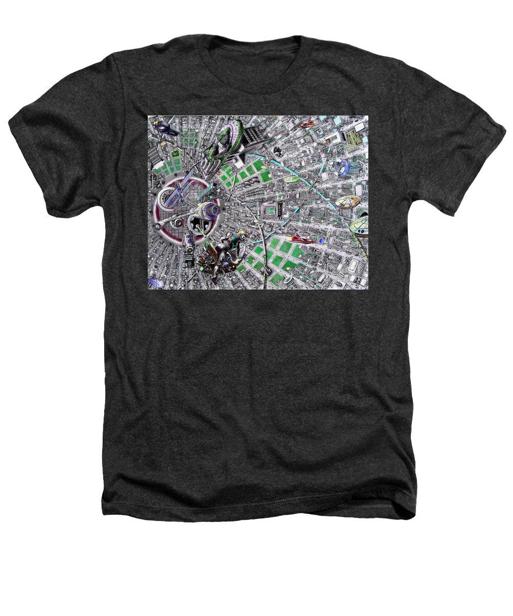 Landscape Heathers T-Shirt featuring the drawing Inside Orbital City by Murphy Elliott