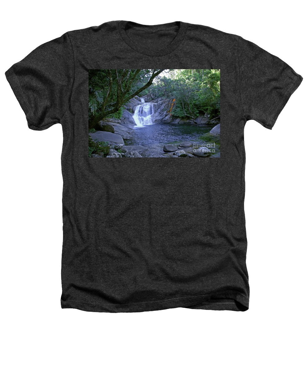Tropical Heathers T-Shirt featuring the photograph Josephine Falls And Tropical Pool by Kerryn Madsen- Pietsch