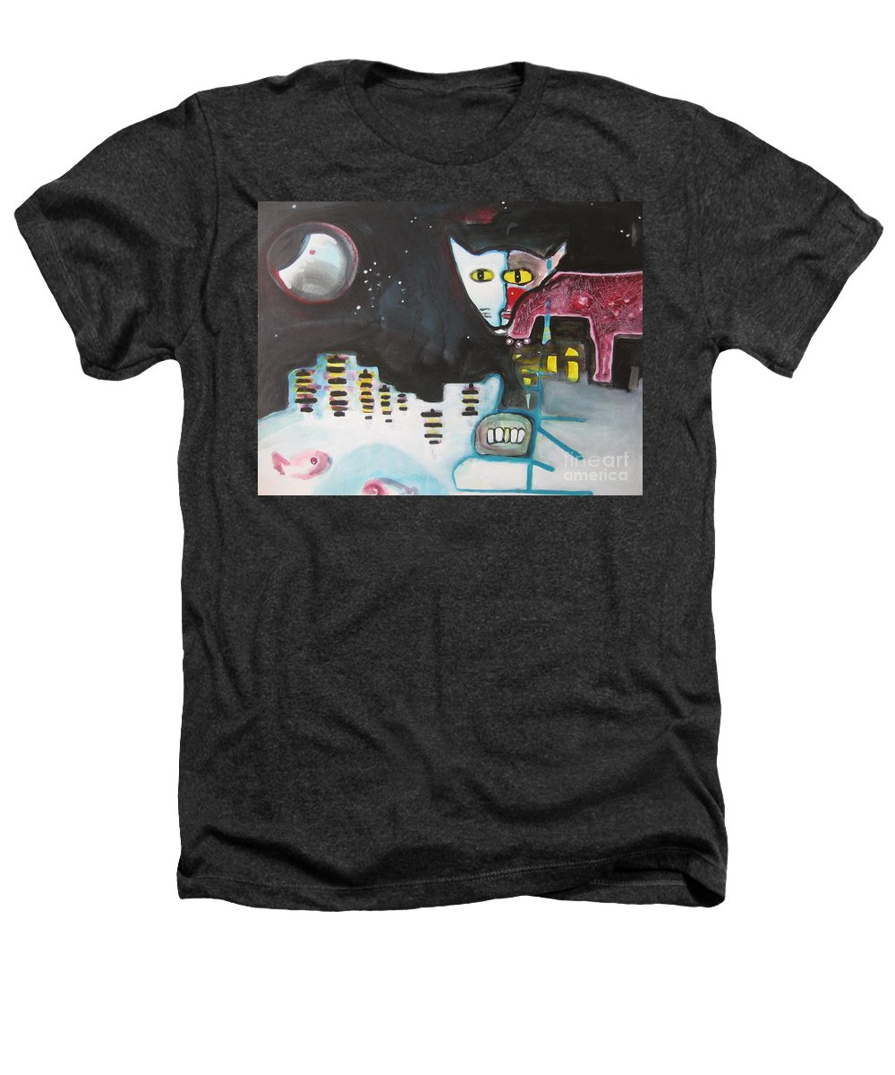Cat Paintings Heathers T-Shirt featuring the painting Let Me Out3 by Seon-Jeong Kim