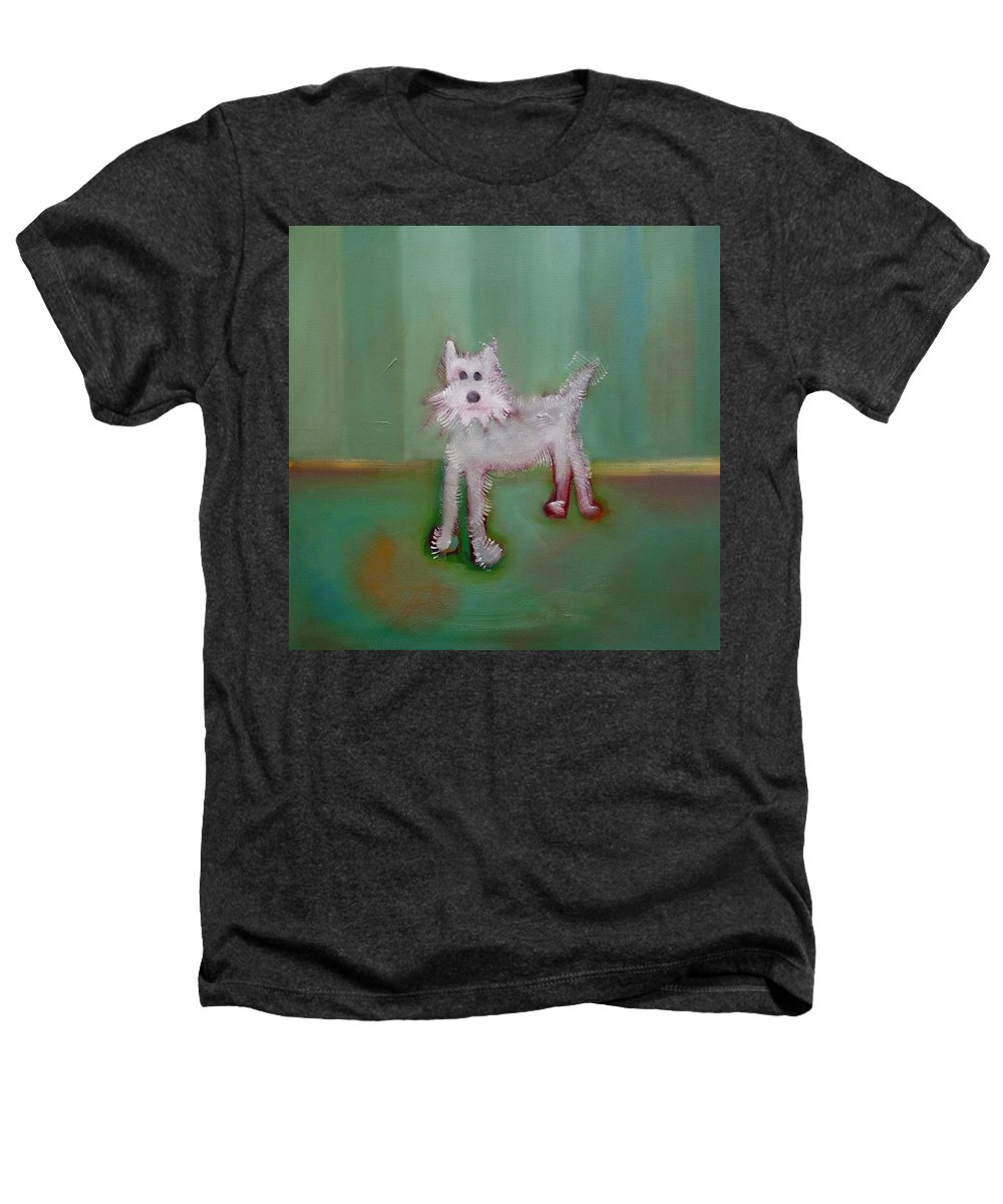 White Puppy Heathers T-Shirt featuring the painting Snowy by Charles Stuart