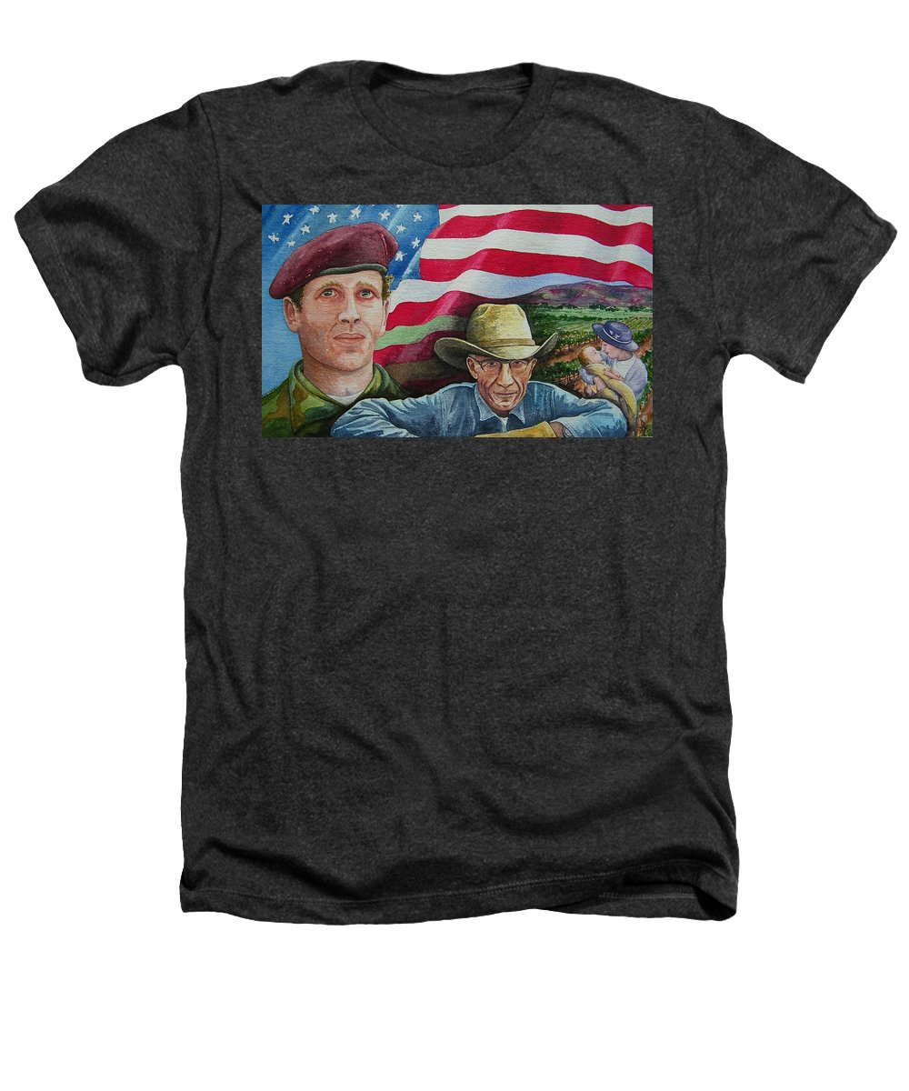 Soldier Heathers T-Shirt featuring the painting We Hold These Truths by Gale Cochran-Smith
