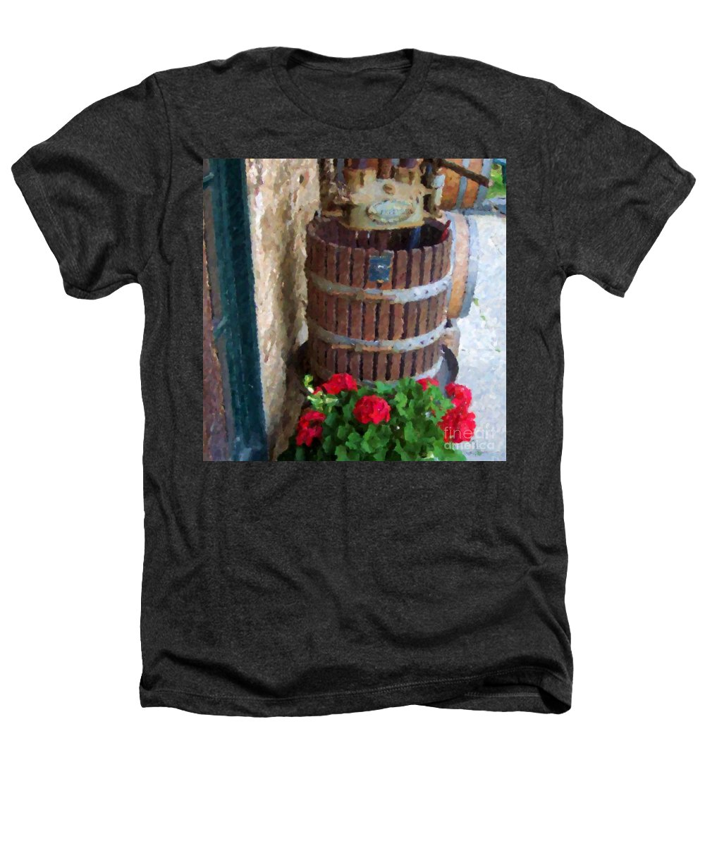 Geraniums Heathers T-Shirt featuring the photograph Wine And Geraniums by Debbi Granruth