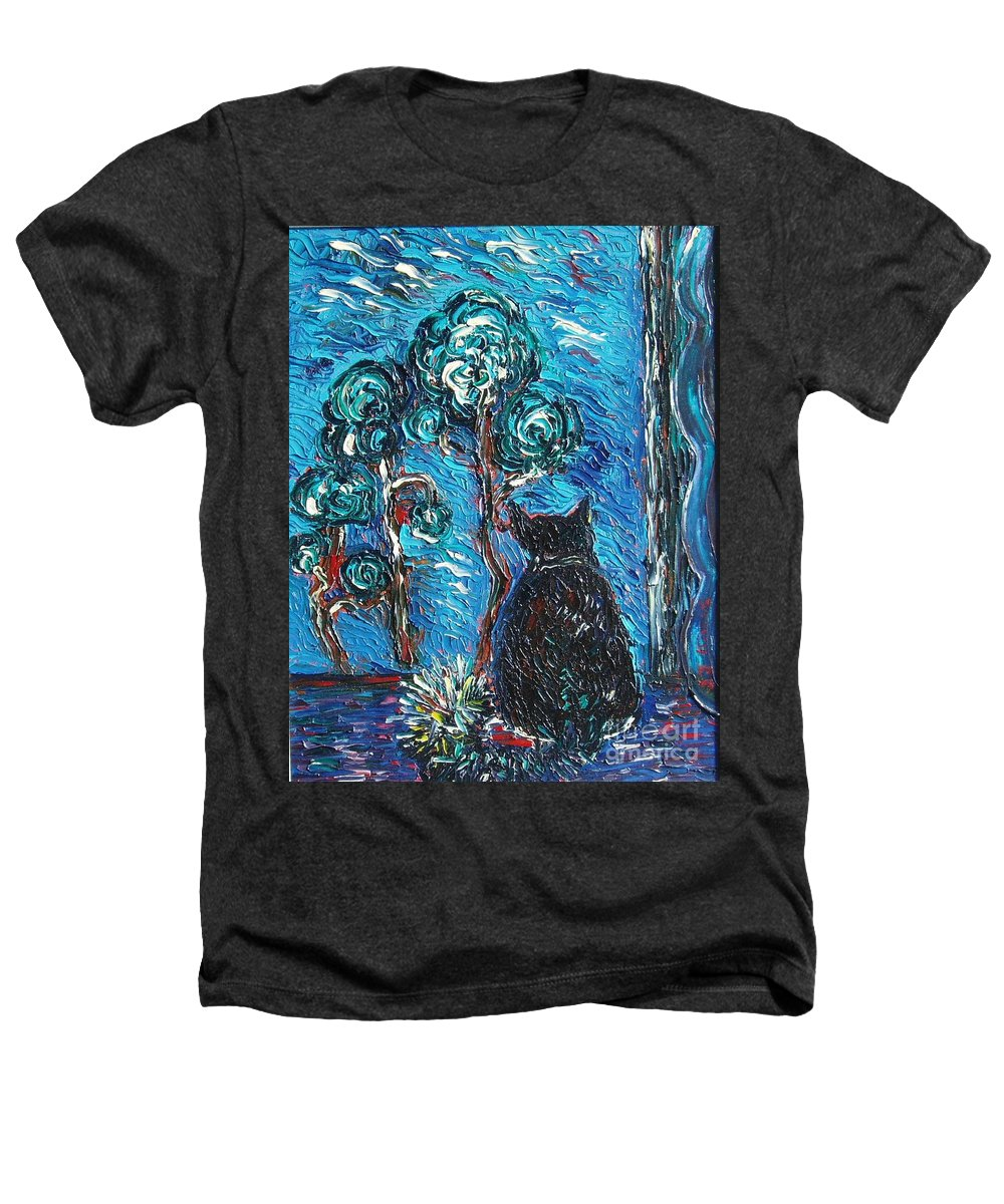 Cat Paintings Heathers T-Shirt featuring the painting A Black Cat by Seon-Jeong Kim