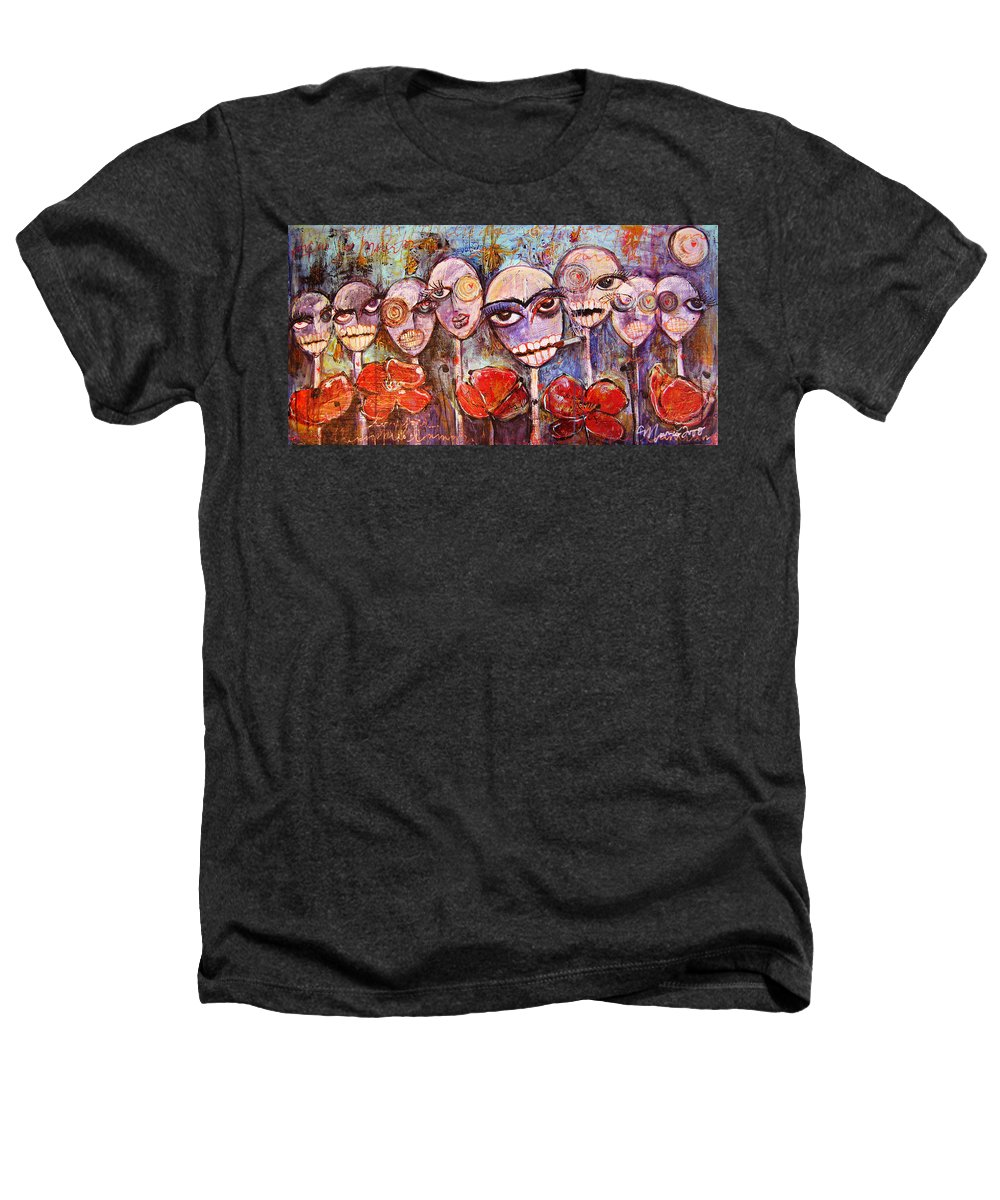 Dia De Los Muertos Heathers T-Shirt featuring the painting 5 Poppies For The Dead by Laurie Maves ART