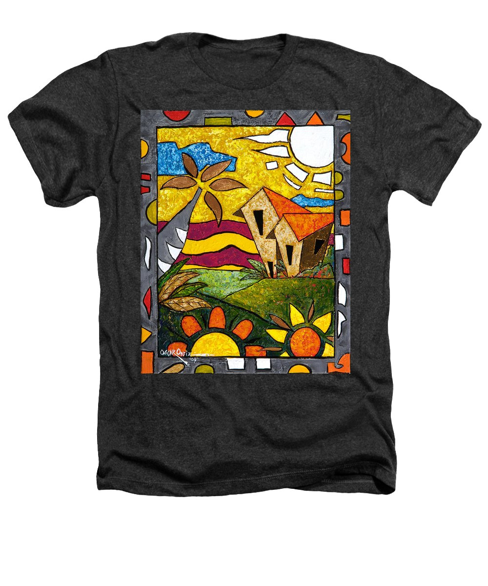 Puerto Rico Heathers T-Shirt featuring the painting A Beautiful Day by Oscar Ortiz