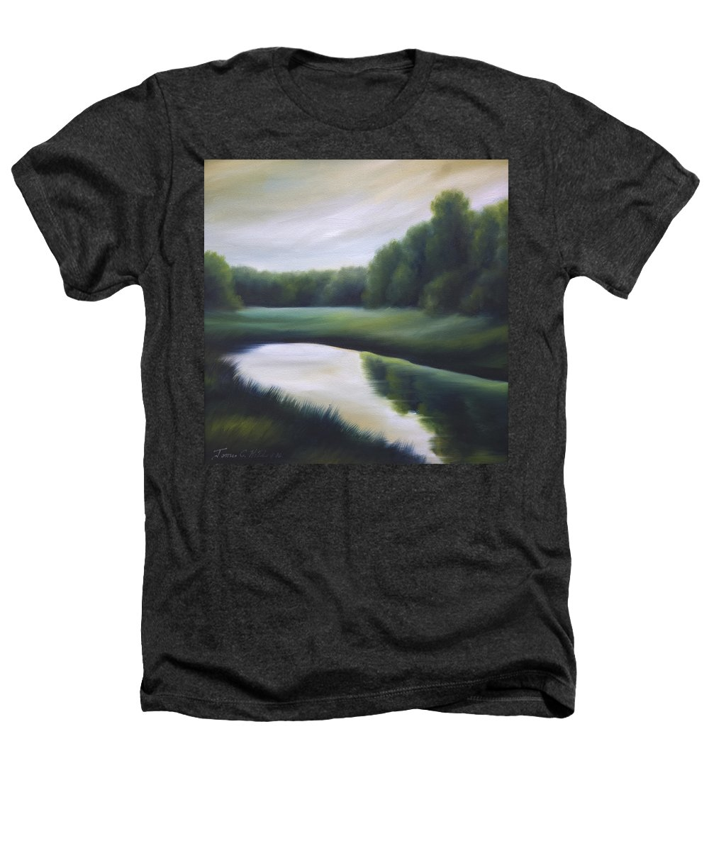 Nature; Lake; Sunset; Sunrise; Serene; Forest; Trees; Water; Ripples; Clearing; Lagoon; James Christopher Hill; Jameshillgallery.com; Foliage; Sky; Realism; Oils; Green; Tree Heathers T-Shirt featuring the painting A Day In The Life 3 by James Christopher Hill