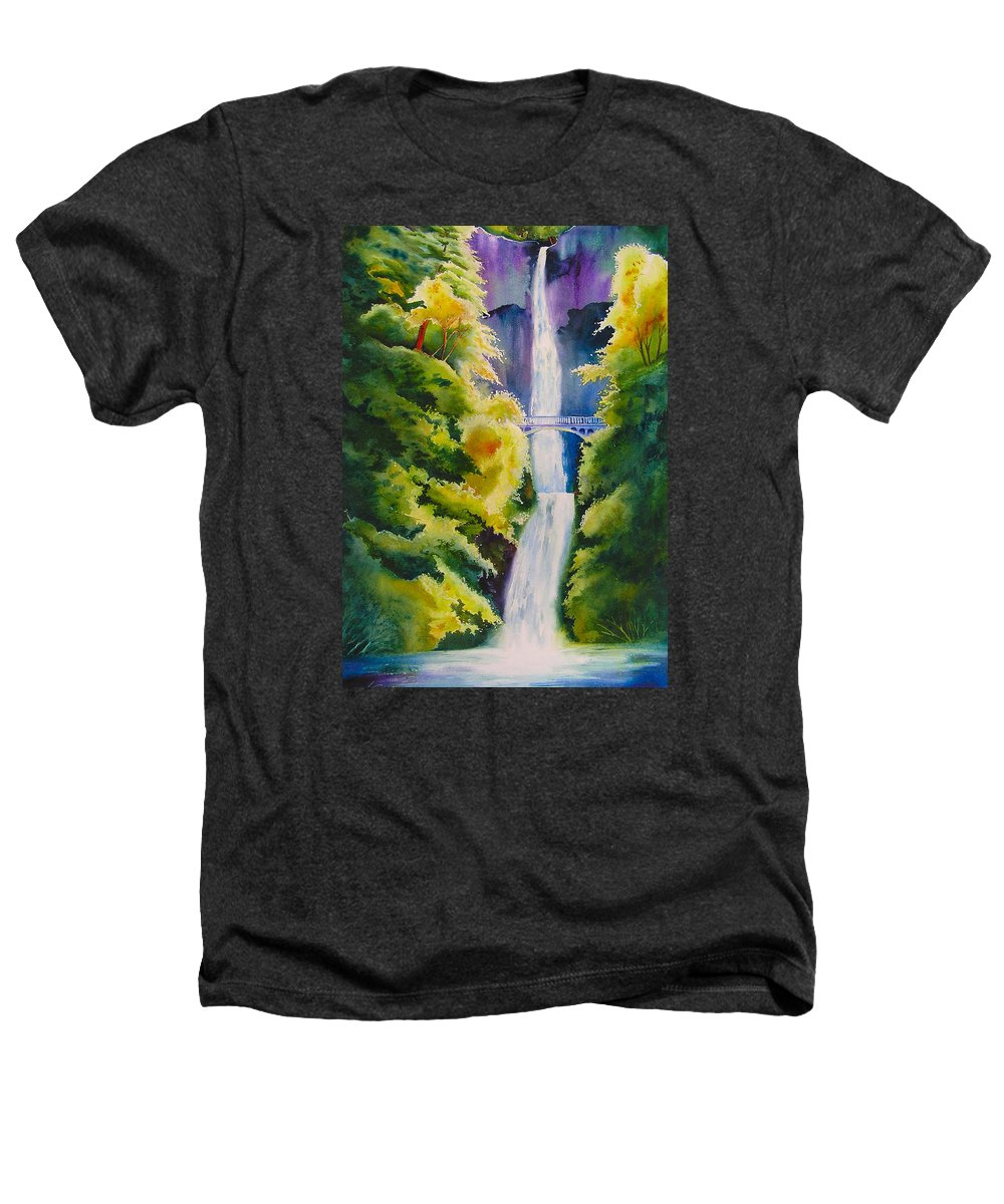 Waterfall Heathers T-Shirt featuring the painting A Favorite Place by Karen Stark