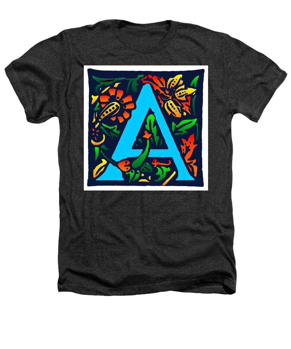 Alphabet Heathers T-Shirt featuring the digital art A In Blue by Kathleen Sepulveda