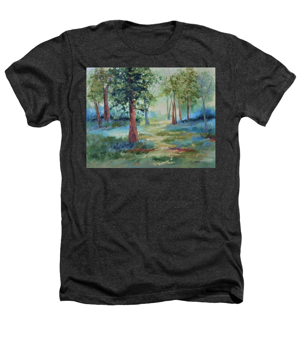 Trees Heathers T-Shirt featuring the painting A Path Not Taken by Ginger Concepcion