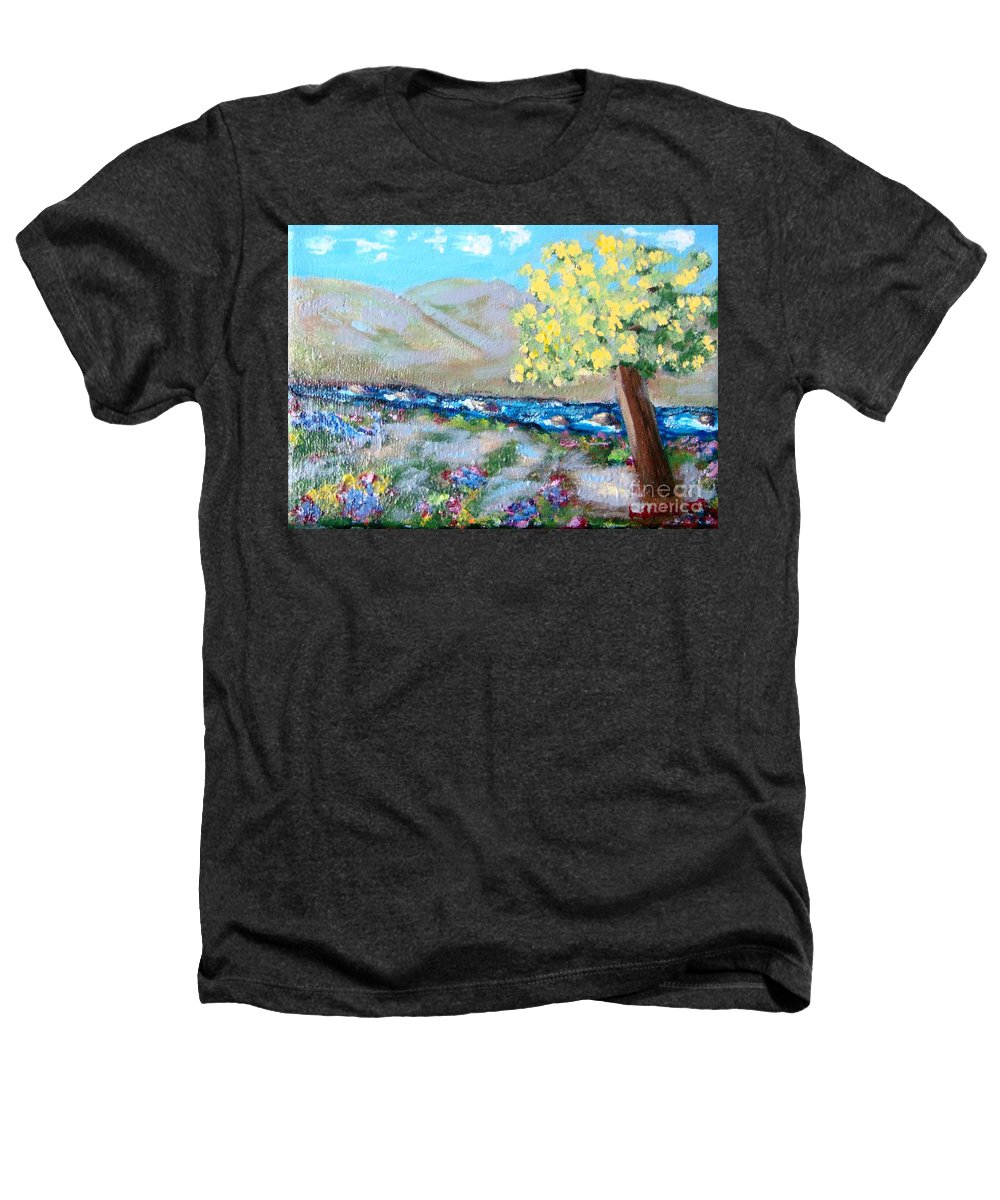 Landscapes Heathers T-Shirt featuring the painting A Quiet Place by Laurie Morgan