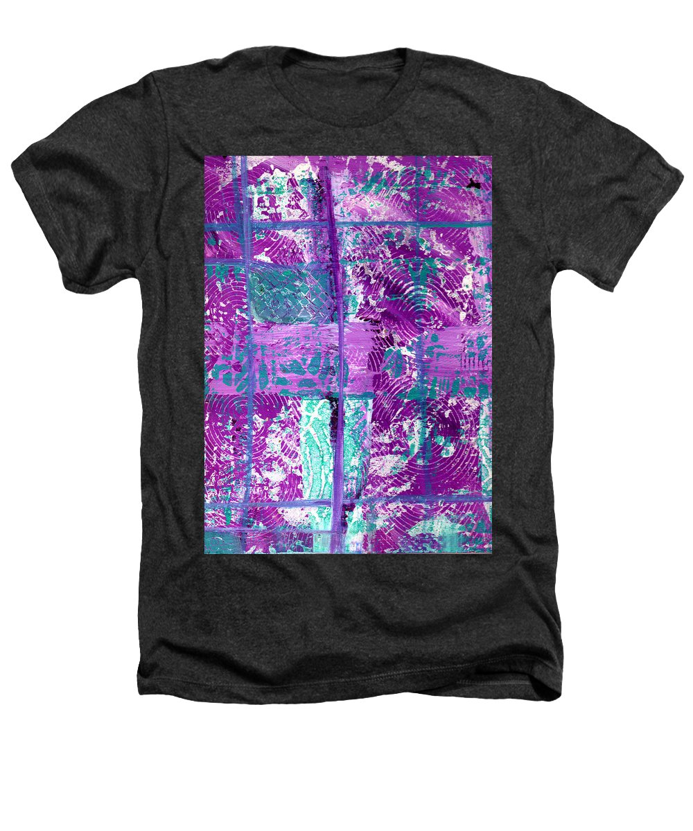 Abstract Heathers T-Shirt featuring the painting Abstract In Purple And Teal by Wayne Potrafka