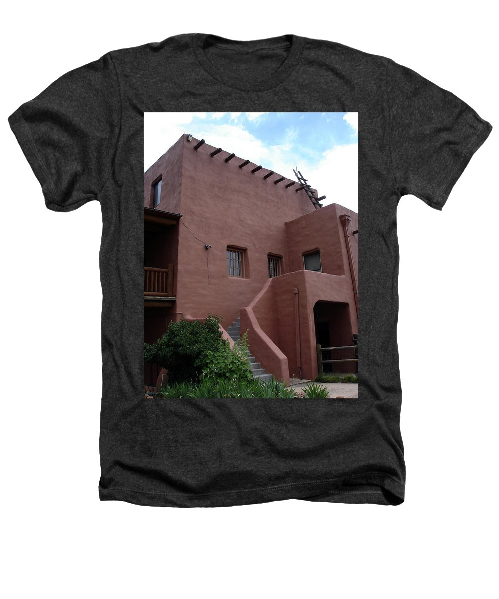 Santa Fe Heathers T-Shirt featuring the photograph Adobe House At Red Rocks Colorado by Merja Waters