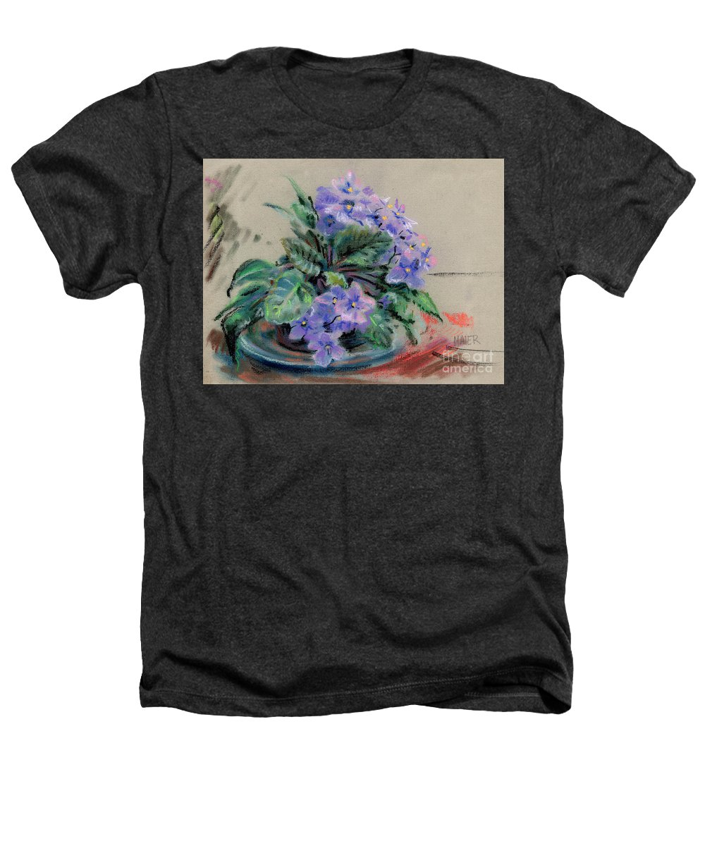 African Violets Heathers T-Shirt featuring the drawing African Violet by Donald Maier