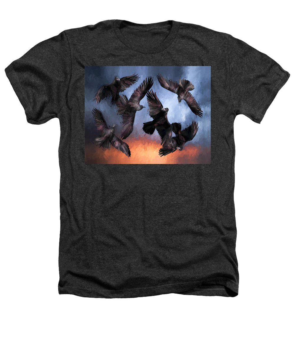 Fine Art Heathers T-Shirt featuring the painting Airborne Unkindness by David Wagner