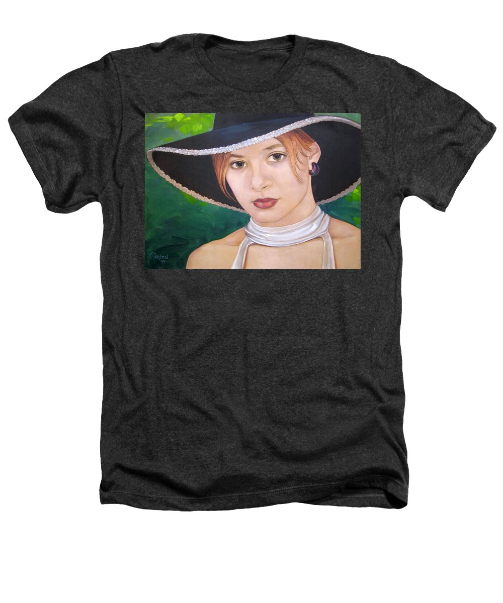 Pretty Girl Heathers T-Shirt featuring the painting Alexis by Jerrold Carton
