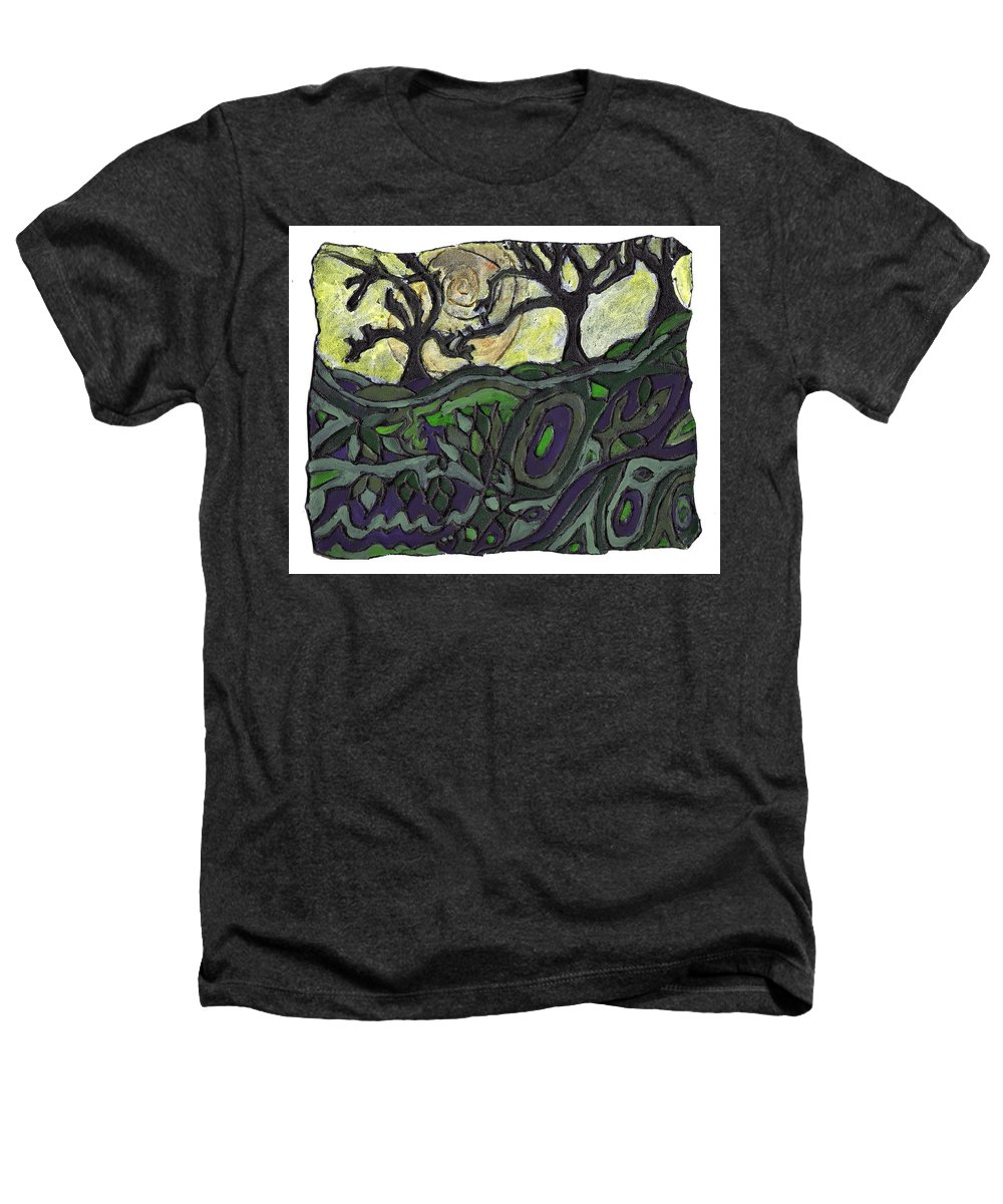 Woods Heathers T-Shirt featuring the painting Alone In The Woods by Wayne Potrafka