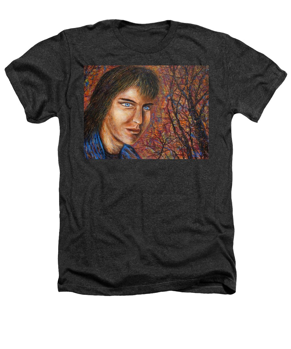 Colorful Autumn Heathers T-Shirt featuring the painting Amber Glow by Natalie Holland