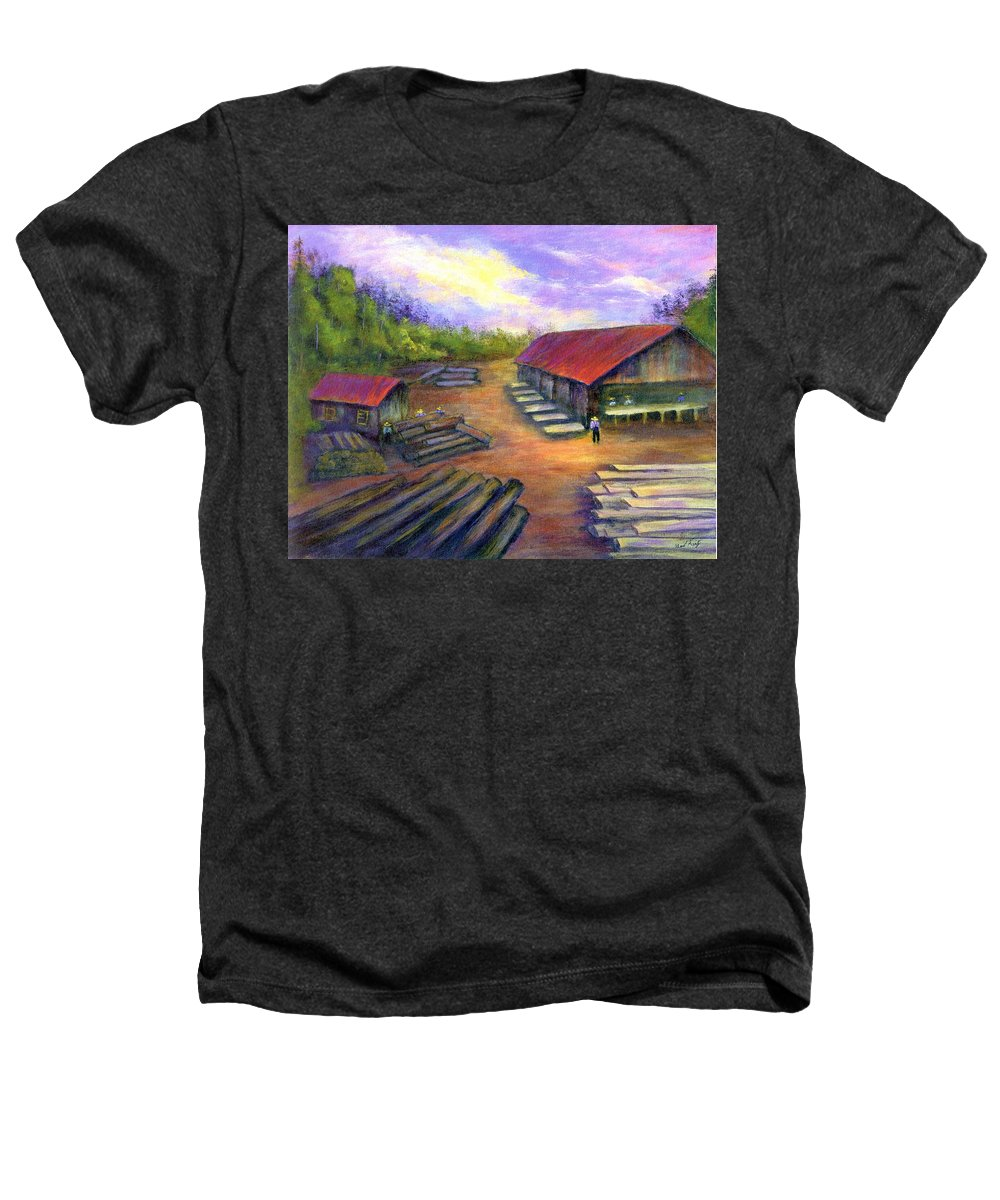 Amish Heathers T-Shirt featuring the painting Amish Lumbermill by Gail Kirtz