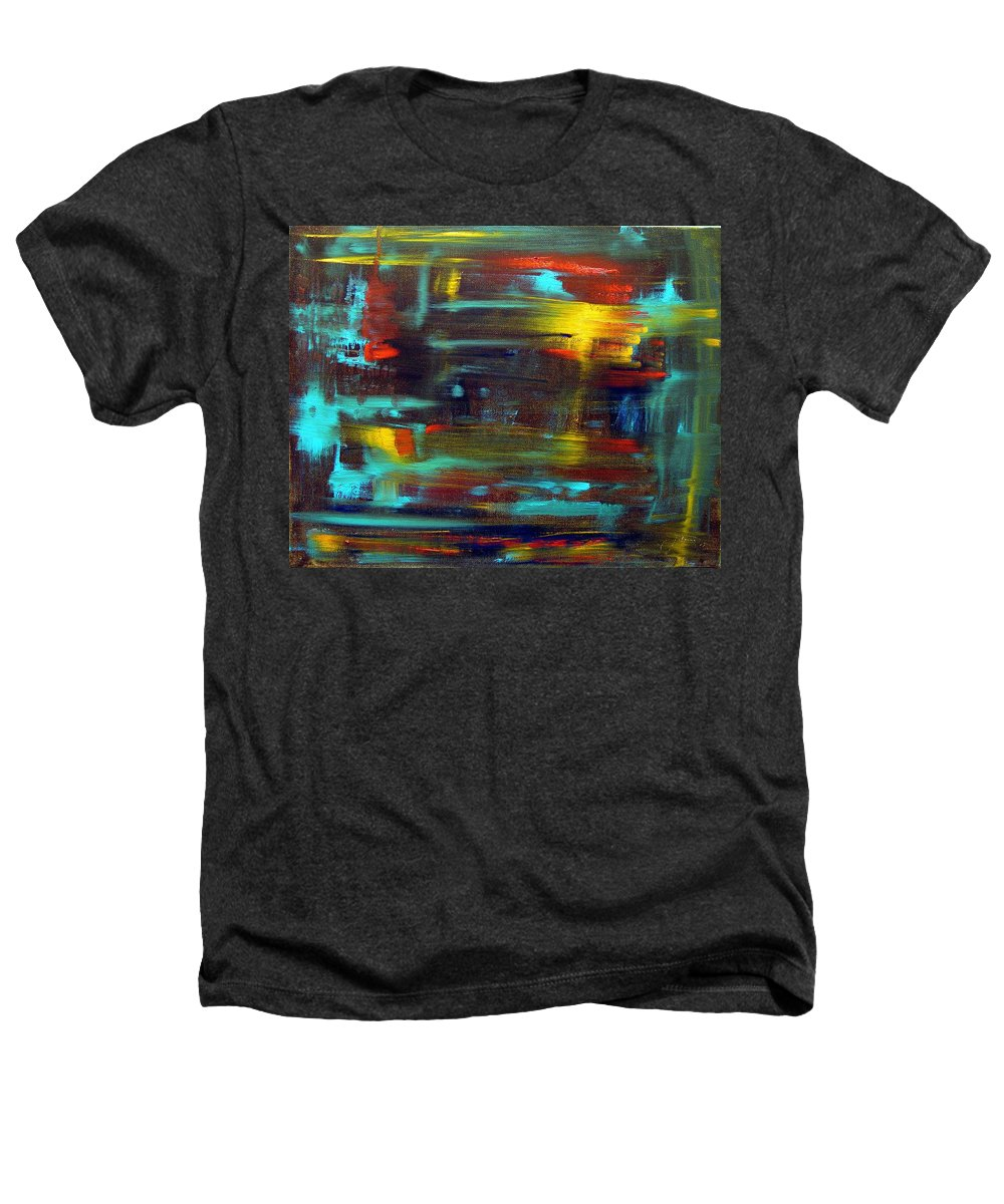 Red Blue Yellow Gold Brown Cad Orange Eyes Obama Oscar  Face Thought Emotions Heathers T-Shirt featuring the painting An Abstract Thought by Jack Diamond