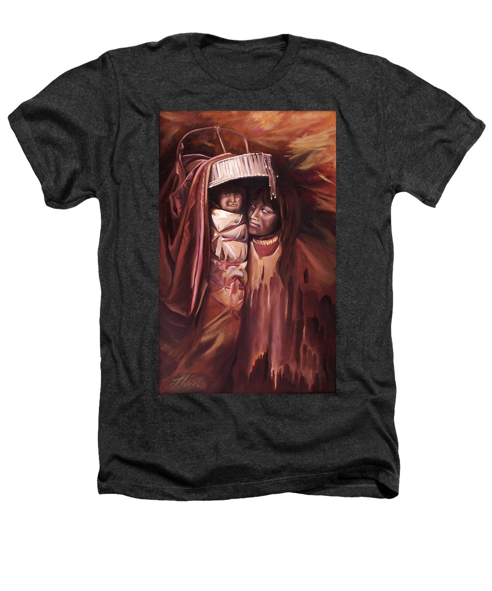 Native American Heathers T-Shirt featuring the painting Apache Girl And Papoose by Nancy Griswold