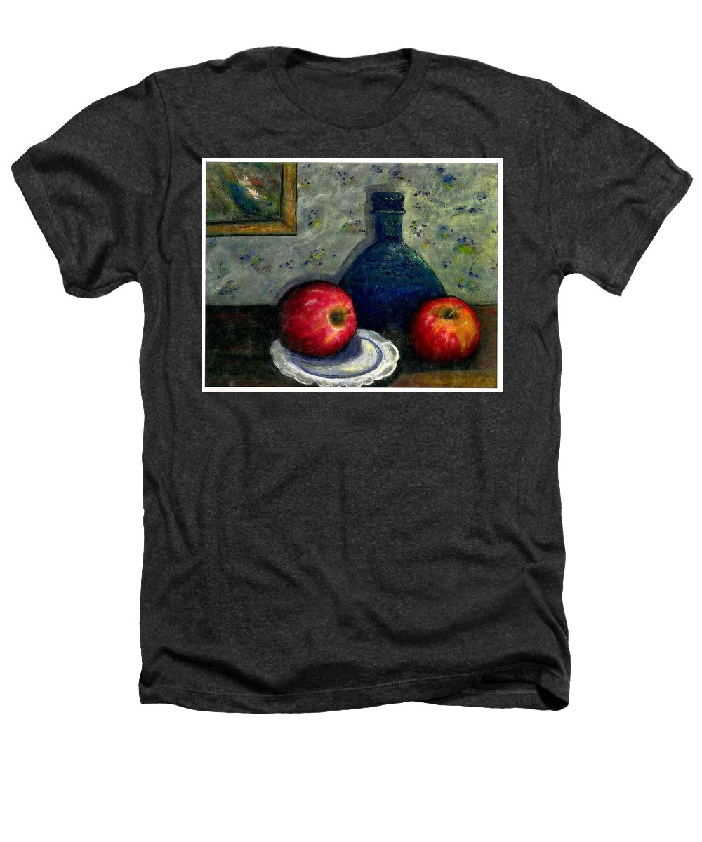 Still Life Heathers T-Shirt featuring the painting Apples And Bottles by Gail Kirtz