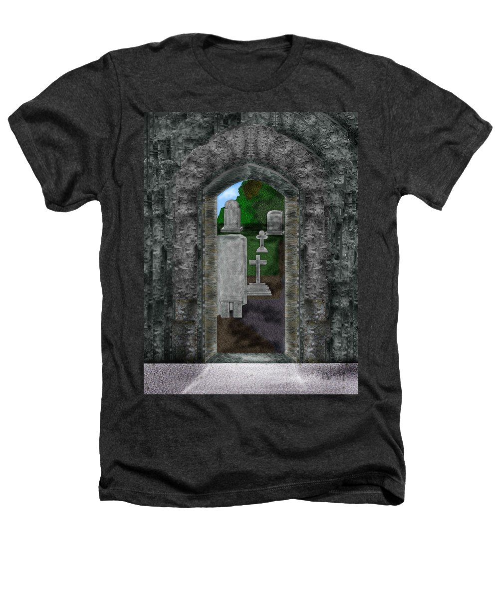Digital Landscape Heathers T-Shirt featuring the painting Arches And Cross In Ireland by Anne Norskog