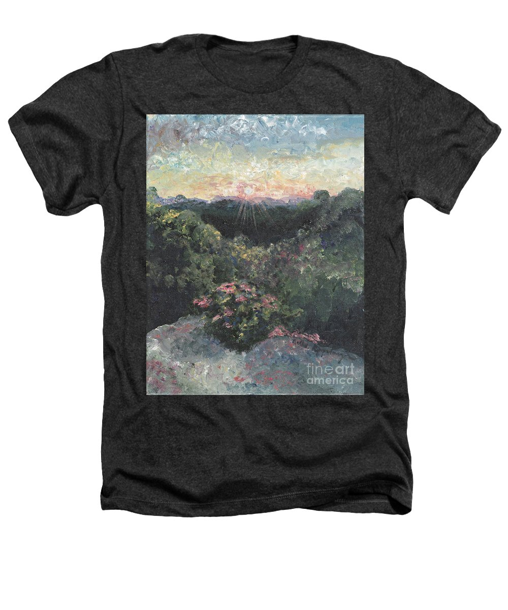 Landscape Heathers T-Shirt featuring the painting Arkansas Mountain Sunset by Nadine Rippelmeyer