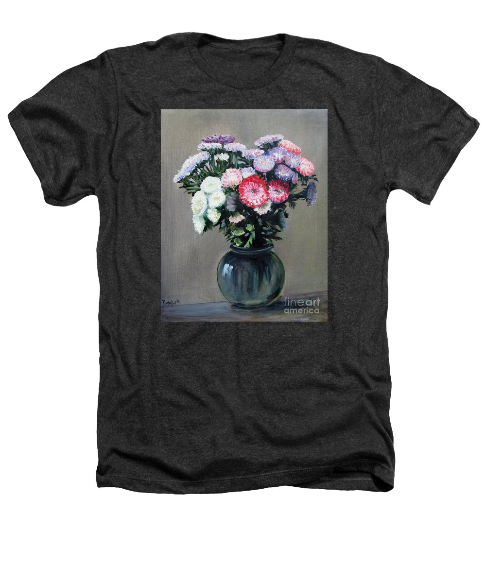 Flowers Heathers T-Shirt featuring the painting Asters by Paul Walsh