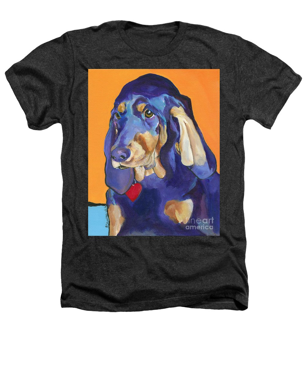 Bloodhound Heathers T-Shirt featuring the painting Augie by Pat Saunders-White