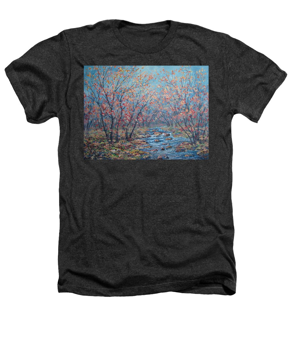 Landscape Heathers T-Shirt featuring the painting Autumn Serenity by Leonard Holland